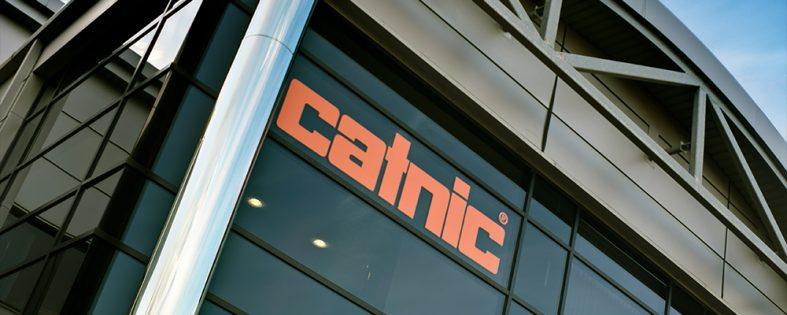 Orange-Catnic-sign-on-Exterior-black-office-building